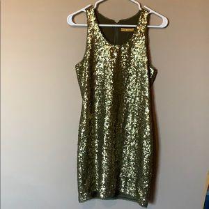 Alice + Olivia Olive Green Cocktail Sequin Dress